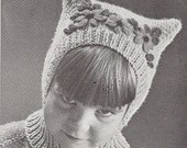 Vintage Pussy Cat Child Hat, Balaclava  Pattern, PDF pattern