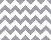 Grey on White Chevron Zig Zag Print Cotton Blend Jersey Knit Fabric-BTY-Presale-Gray Chevron