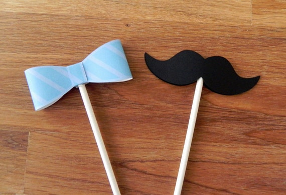 cupcake toppers little man bow ties and mustaches baby shower