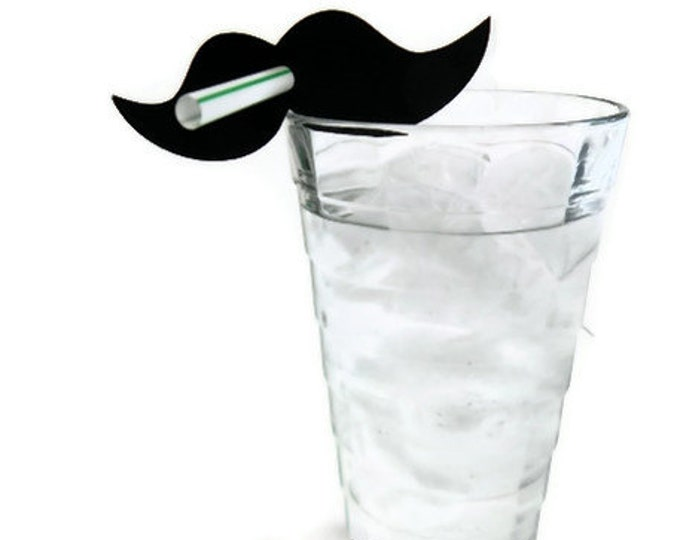 Mustache Straws - Die Cut Mustache (10) - photo prop party decoration punch cutout card stock