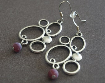 Dangle Earrings-Abstract Metal & Fuchsia Agate Earrings