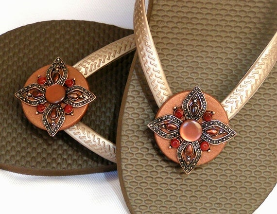 FLEXIBLE Shoe Accessories Copper and Rust  Shoe Clip for Flip Flops, Sandals, Scarves and Hat Bands