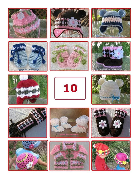 Pattern Pack for any TEN patterns - Crochet Patterns Crochet Hat Pattern Knitting Patterns Scarf Mittens Booties Boots Sweater Pattern Sale