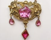 SALE 1910s Art Nouveau Girandole Lavaliere Necklace Pink Topaz Czech Bohemian Glass Gilt Brass Gold Filled Chain Lily Flowers