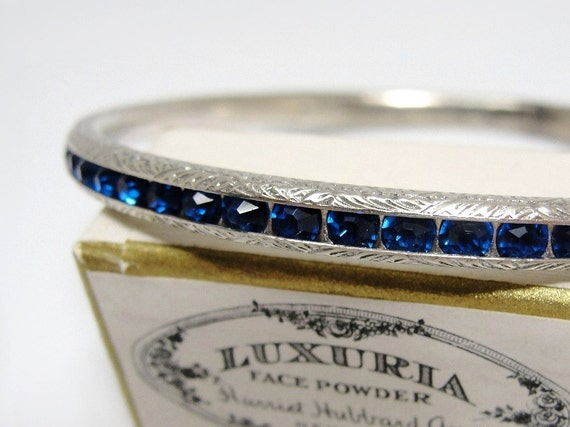 Art Deco Bracelet Sterling Silver Sapphire Blue Crystals 1920s 1930s Elegant Glam Eternity Band Wedding Bangle