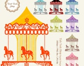 Merry Go Round colorful  SET 1(6 inch) Clip Art - carousel