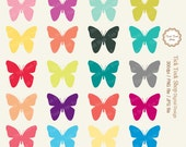 20 butterfly Colorful SET - 01 (6 inch) Clip Art