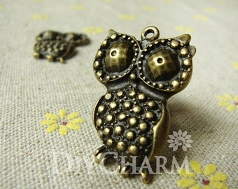 Antique Bronze Big Eye Owl Charms 21x30mm - 5Pcs - DC23411