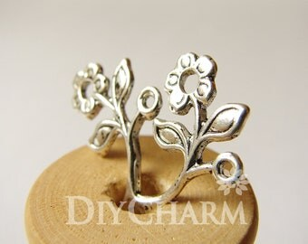 Antique Silver Flower Branch Connector Charms 26x20mm - 10Pcs - FI21657