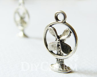 Antique Silver Summer Breeze Electric Fan Charms 15x11mm - 20Pcs - DF23053