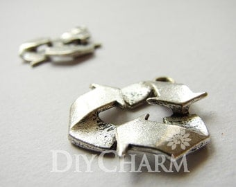 Antique Silver Recycle Sign Eco Friendly Charms 29x24mm - 5Pcs - DF23449