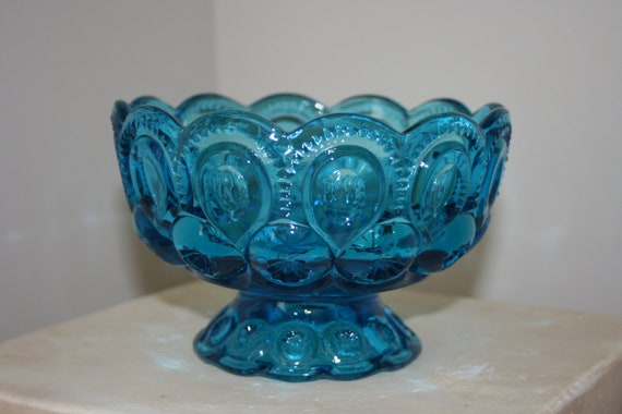 Vintage L.E. Smith Colonial Blue Glass Pedestal Bowl Moon And