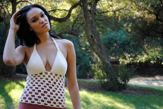 Festival Halter Top in Ecru Cotton - Hand Crochet