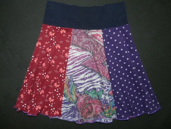 Back to School Hippie Skirt upcycled recycled t-shirt clothing from TWINKLE girls 12 14 16 women xs small