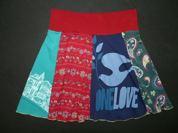 One Love Hippie Skirt upcycled recycled tshirt clothing from TWINKLE women One Size Fits Most