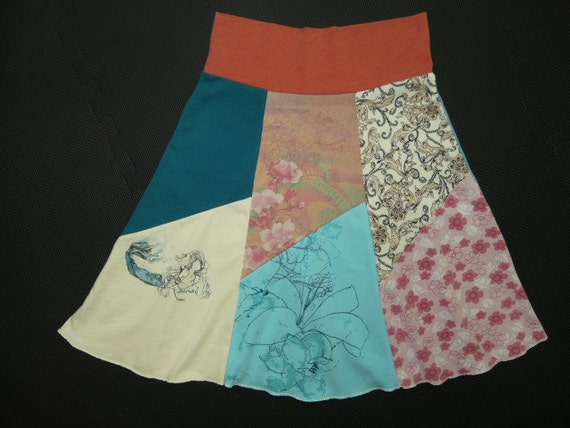 Mermaid Boho Chic Hippie Skirt upcycled recycled t-shirt clothing from Twinkle Women's One Size Fits Most