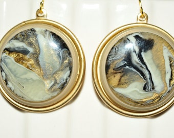 Handmade Vintage Grey and Gold Swirled Earrings