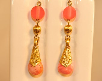 Handmade Vintage Tibetan Ornate Brass Pink Stone Earrings