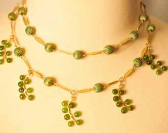 Handmade Vintage Jade Brass Leaf Drop Necklace
