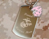 Custom Engraved Marine Corps Necklace (Mom, Wife, Girlfriend...)