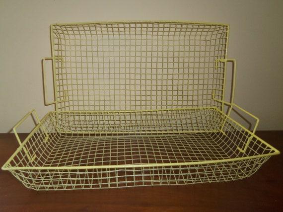 Vintage Wire Basket  Pair Yellow