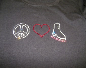 """Adult/Child  - Peace/Love & Ice Skating """"Bling"""" Shirt"""