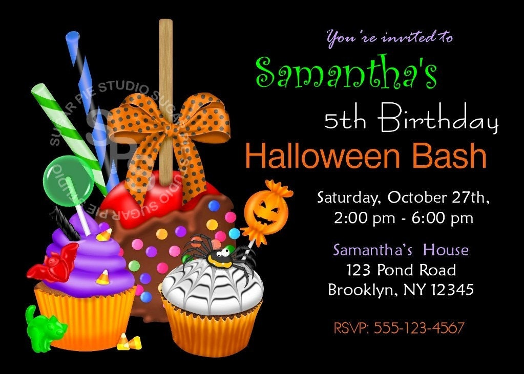 Printable Halloween Birthday Party Invitation Custom - Halloween birthday invitations party