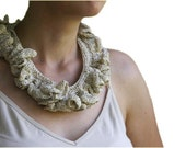 Crochet Ruffled Necklace in Beige with Golden Glitters - Women  Accessories - Fashion - Elegant Chic