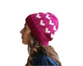 Heart Knit Hat in Raspberry - Pink Beanie - Fall Winter Fashion - Women Teens Accessories - Slouchy Beret
