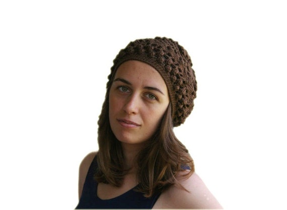 Lacy Crochet Hat - Chocolate Brown Beanie - Rustic Woods - Teens Womens Accessories - Spring Summer Fall Fashion