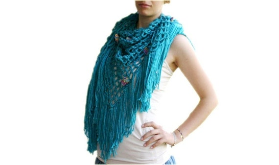 Blue Floral Shawl with Fringes  - Women Accessories - Winter Fall Spring Fashion - Wrap - Scarf - Capelet