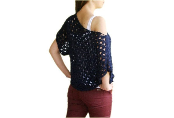 Navy Blue Sweater  - Cotton Knit Top-  Spring Summer Fall Fashion - Women Teens Accessories - Poncho- Cape