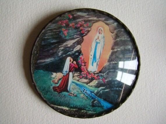 Souvenir of Lourdes France Ste Bernadette in front of the Virgin in her Cave