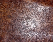 """Leather CLOSEOUT 12""""x12"""" Distressed Reddish Brown Western Tool Floral leaf pattern Cowhide #227 3.5 oz/ 1.4 mm PeggySueAlso™"""