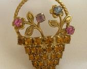Vintage Flower Pot Pin Amber Rhinestones Retro 1950s 1960s Floral Brooch