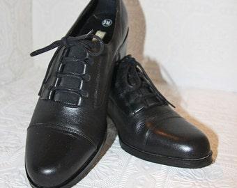 Black Leather Oxfords