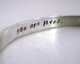 Custom Secret Message Bracelet - Hammered and Personalized with YOUR Favorite Quote or Message - Aluminum, Sterling Silver or Brass