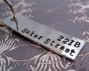 Sherlock Inspired - 221B Baker Street - Hand Stamped Keyring - Customizable