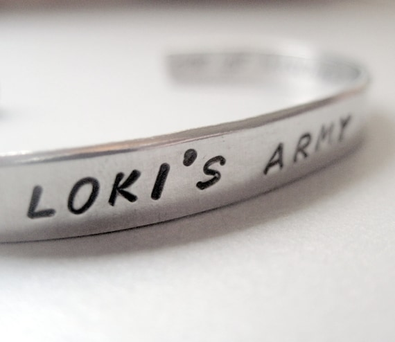 Avengers Loki Inspired 2-Sided Bracelet - Loki's Army - Hand Stamped Cuff in Aluminum, Golden Brass or Sterling Silver  - customizable