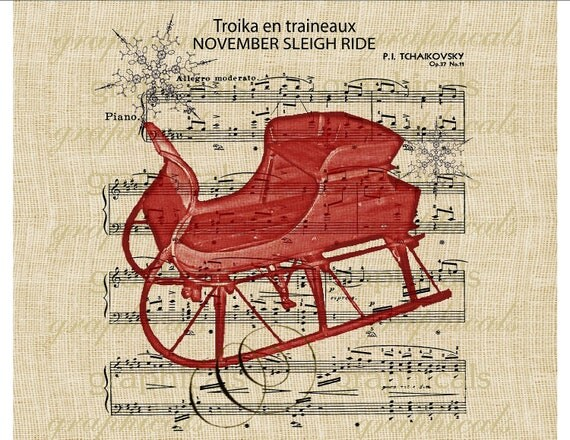 Red sleigh November Sleigh ride Christmas music instant graphic transfer digital download image for iron on burlap tote pillow card No. 318