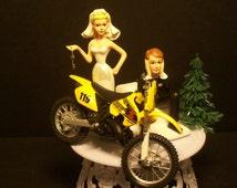 Motorcycle SUZUKI RM Dirt Bike or your Bike Bride and Groom Funny Bike Wedding Cake Topper