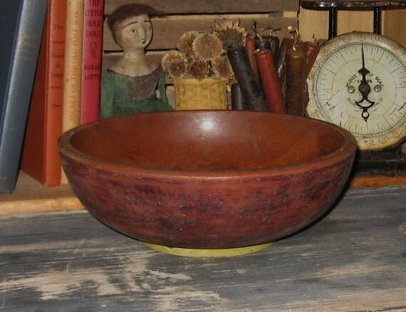 Vintage Wood DOUGH BOWL-Primitive Country Kitchen Decor-Wooden Centerpiece-Ships FAST