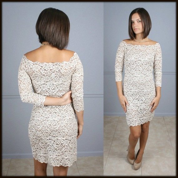 Vintage 1980s Sheer Lace Dress Floral Ivory Nude Off the Shoulder 3/4 Sleeve BodyCon Bandage Vtg 80s Party Dress S M