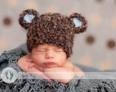 READY  Mohair Blend Baby Bear Hat - Baby Boy Hat - Baby Hat Made with Soft Mohair Blend Yarn and Baby Blue Ears