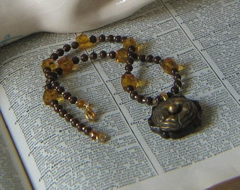 Handmade Vintage Bakelite and Brass Button Necklace