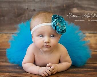 Sweet Azure Tutu Blue Newborn Tutu Custom Made With Matching Vintage Style Flower Headband Stunning Newborn Photo Prop