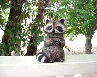 Raccoon, ceramic raccoon,  standing raccoon