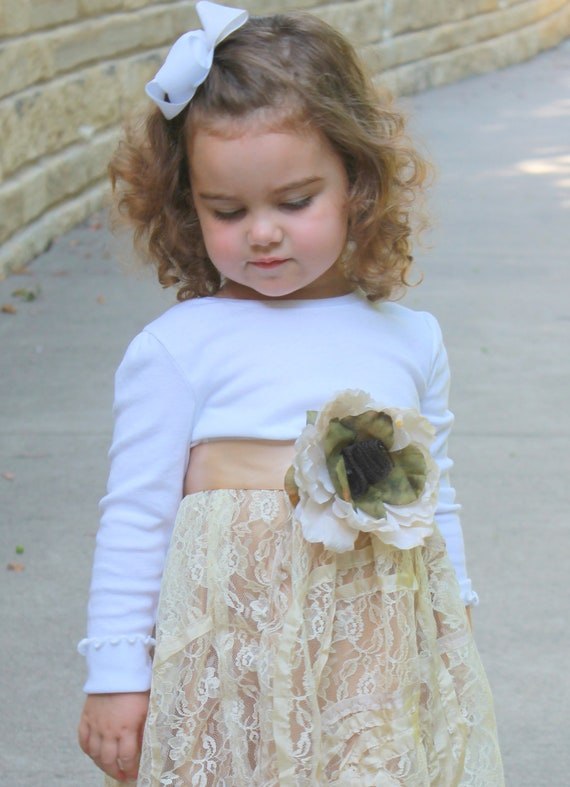 Shabby Chic Flower Girl Dress Toddlers Luxe Lace Cha Cha Louise
