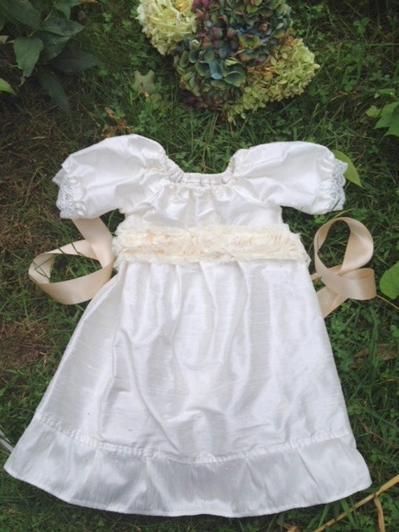 Silk christening gown baby girl Christening Baptism silk dress