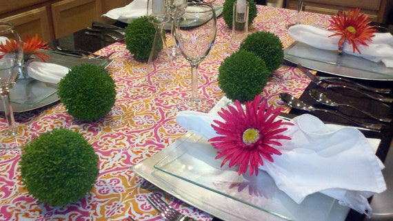 Hot Pink and Orange Damask Table Runner